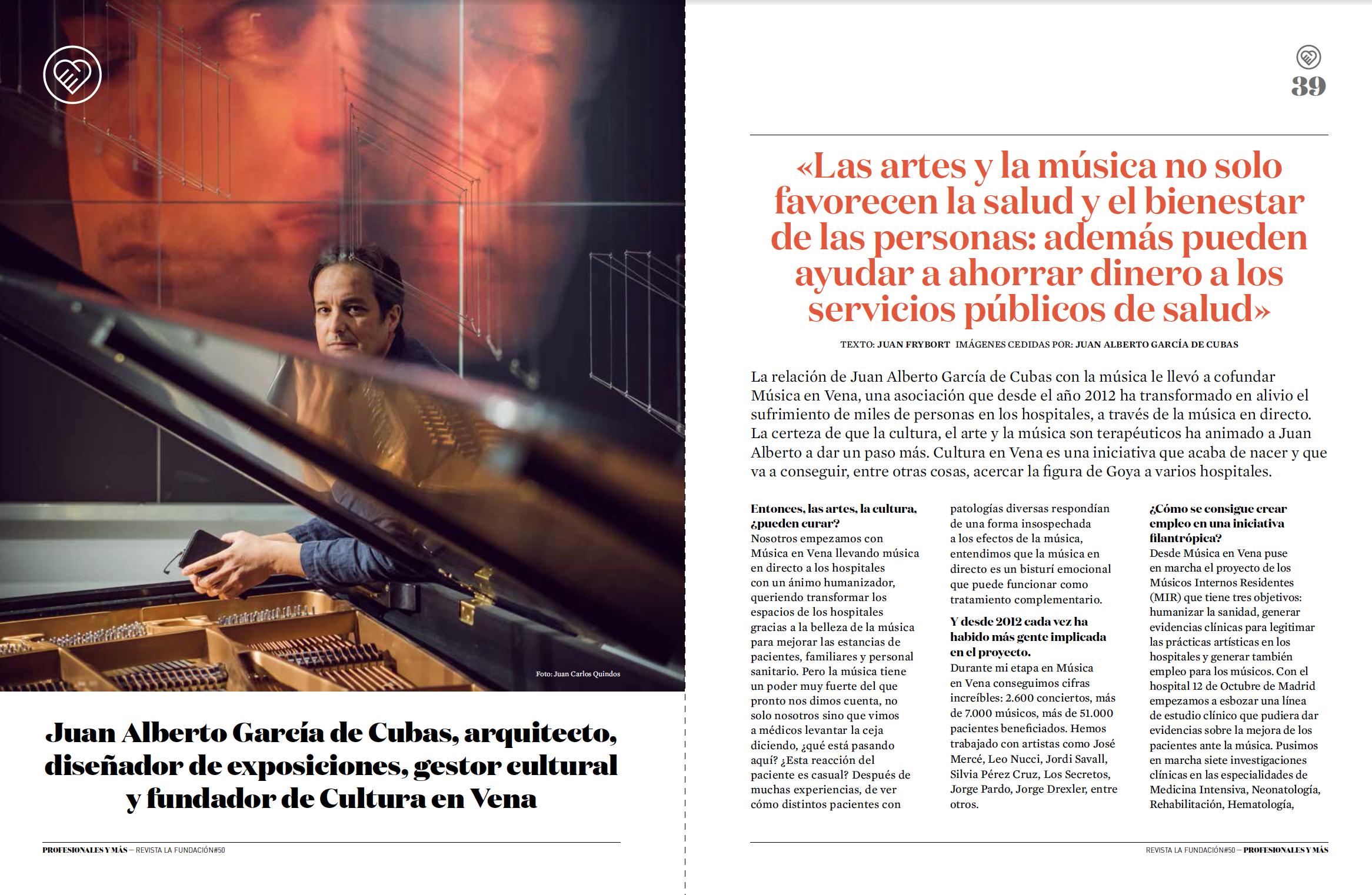 Juan Alberto García de Cubas Cultura en Vena arte salud hospitales investigación científica